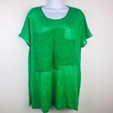 Kim Bernardin Paris Green Blouse Large Top Lagenlook Pocket Front Short Sleeve