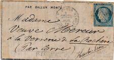 Lettre Ballon Monte Le Ville D'orleans + Dépêche Ballon n°6 Rare Cover