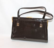 LANZA Designer Retro Vintage Brown Patent Hangbag Purse