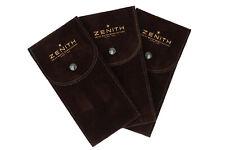 3 Zenith Pochette Orologi Servicw Tessuto Floccato Morbido Marrone Stampa Logo