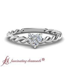 Half Carat Heart Shaped Diamond Braided Shank Solitaire Womens Engagement Ring