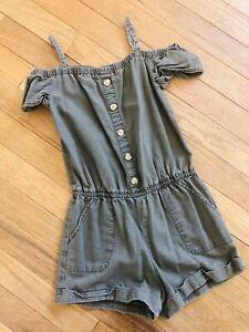 EUC Abercrombie Kids Girls Short Romper Shorts 7/8 Years M olive green