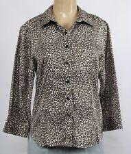 Talbots Women's Stretch Button Down Shirt Animal Print 3/4 Sleeve Size 14