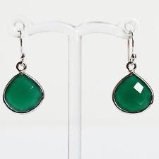 925 Sterling Silver Semi-Precious Natural Stone Green Onyx Teardrop Earrings