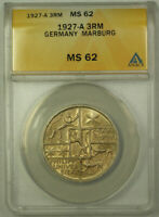 1927-A Germany Marburg Silver 3 Reichs Mark ANACS MS-62 Toned