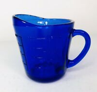 Cobalt Blue Glass 1 Cup or 8 oz Capacity Measuring Cup Vtg Bubbles & Straw Mark