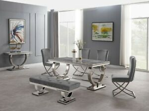 Marble Top & Polished Chrome Legs Luxury Grey Dining Table Lounge Dining