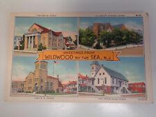 Wildwood by the Sea, New Jersey 1940's 4 Church Views Postcard