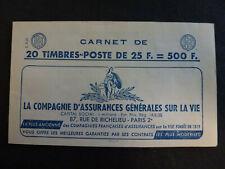 France #1011C-C2 Carnet Type MULLER  6 Timbres avec Barres sur Marges Serie 9-59