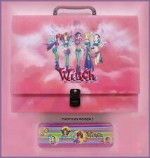 Disney W.I.T.C.H. Witch PINK School Bag SUPPLY FOLDER CASE & PENCIL CASE w Dolls