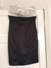 Ladies asos Cream & Black Strapless Silk-like Dress Size UK 10