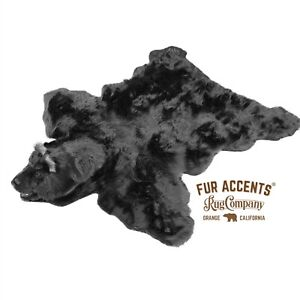 Plush Black Bear Skin Area Rug, Plush Faux Fur, Realistic, Life Size