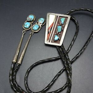 Vintage ZUNI Sterling Silver TURQUOISE Coral MOP Inlay BOLO Effie Calavaza Tips