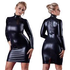 Cottelli Collection schwarzes Wetlook-kleid mit Stehkragen M
