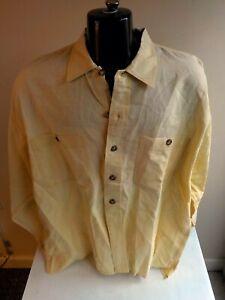 WILKE RODRIGUEZ LS Button Front 2 Pocket Shirt-Pale Yellow-Linen-SZ XL