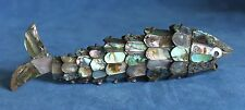 7.5 Vintage Modernist Mosaic Abalone Shell FISH Mexico Articulated Bottle Opener