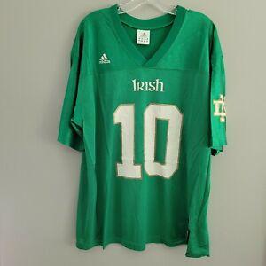 Vintage Adidas Notre Dame Fighting Irish 10 Green Football Jersey Mens L
