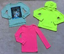 Justice Girls Long Sleeved Top, Sweater, Fleece Hoodie, Sz 7, Neon Yellow, Pink