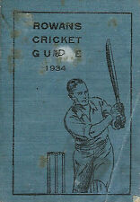 ROWAN'S of GLASGOW CRICKET GUIDE 1934 - RARE SCOTTISH ANNUAL / ALMANACK