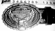 Genuine Leather Embossed with 10cm Harley Davidson Buckle Mens Belt Premium Qlty
