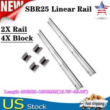 2x Sbr25 Linear Rail Guide 400mm 1500mm Slide Shaft Rod4xsbr12uu Bearing Block