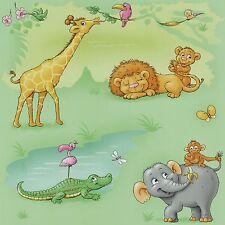 Kindertapete Tiere Afrika grün orange grau Tapete P+S Dieter 4 Kid'Z 05494-10 (1