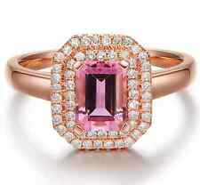 Estate 1.40ct Natural Pink Tourmaline Diamond Fine Ring In Solid 14K Rose Gold