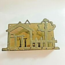 Vintage Brass House & Tree Key and Letter Holder Wall Rack