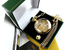 FREEMASON 24ct GOLD Hunter POCKET WATCH Lapel Pin Badge Gift Set Luxury Case