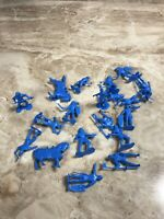 Lot Of MARX Playset reissued toy soldiers WWII GIs Marching figures Horses Blue