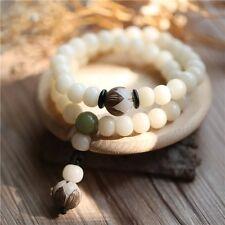 White Jade Beaded Long Bracelet. Oriental Style