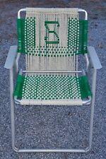 Vintage Aluminum MACRAMÉ Folding Lawn Chair green tan yellow advertising