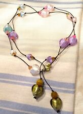 Valentine's Heart necklace, designer made Pink lariat on leather: glass beads.