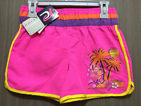 BNWT Girls Sz 7 Pacific Cliff Brand Fluro Pink/Glitter Print Swim Board Shorts