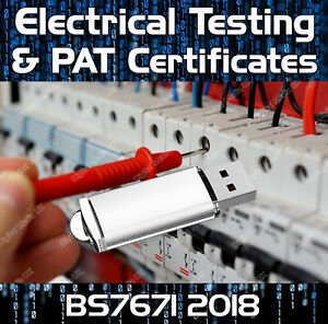 ELECTRICAL CERTIFICATES 18th EDITION BS7671 2018 (2020 AMENDS) & PAT TESTING USB
