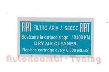 ADESIVO AZZURRO FIAT 500 F L R QUALITA' ASI  PER FILTRO ARIA