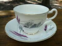 Vtg Old Royal Bone China Wheat Cup & Saucer Lavender & Gray Gold England 1950's