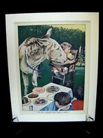Vintage 1940's Retro Art Bookplate Print in Mount - Donkey at a Picnic!