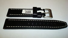 TORGOEN GENUINE HEAVY DUTY LEATHER BAND 22MM  BLACK SMOOTH