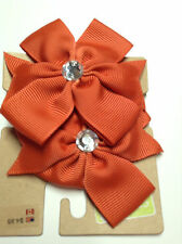 Gymboree Crazy 8 Ponytail Holder Flower NWT Girl Orange 2 Pcs Hair Cloth Diamond