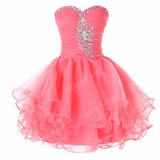 Pink Short Quinceanera Cocktail Prom Evening Dress Party Bridesmaid Wedding Gown
