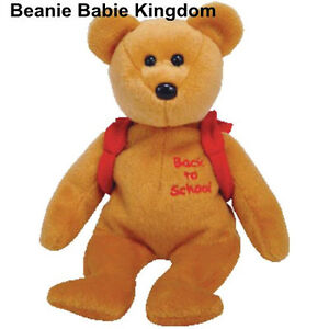 TY BEANIE BABIE * BOOKS * THE BACK TO SCHOOL TEDDY BEAR WITH RED BACK PACK