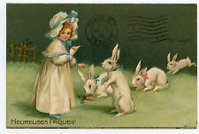 lapins.rabbits.charmante petite fille.pretty girl.chapeau.child.hat.