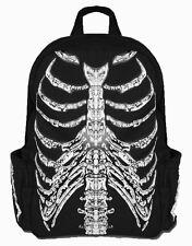 Banned Skeleton Skull Print Hooded Backpack School Bag Rucksack Waterproof