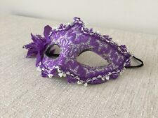 Handmade Vintage Theater Mask Silver Purple Lace Metallic Carnival