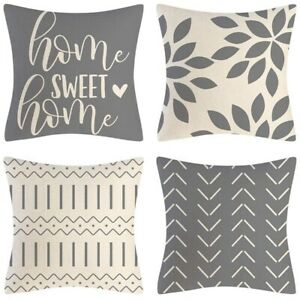 Grey Pillow Covers 18X18 Set of 4 Home Decorative Throw Pillow Covers Outdo P7T2