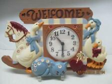 "Vtg Burwood New Haven Wall Clock ""Welcome"" Geese Kitten Horse Not Working Usa"