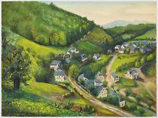 Aquarell Tempera signiert F. Wiemers 1939 Landschaft Dorf Eifel Hunsrück 32x24cm