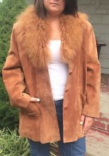 Siena Studio Suede Coat With Faux Fur Collar Size L
