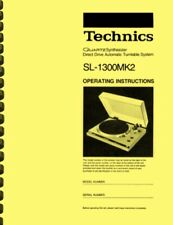 Technics SL-1300 MK2 OWNER'S MANUAL and SERVICE MANUAL